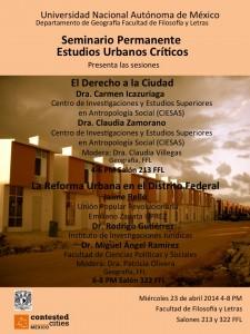 CARTEL SEMINARIO ESTUDIOS URBANOS CRITICOS SEGUNDA SESION