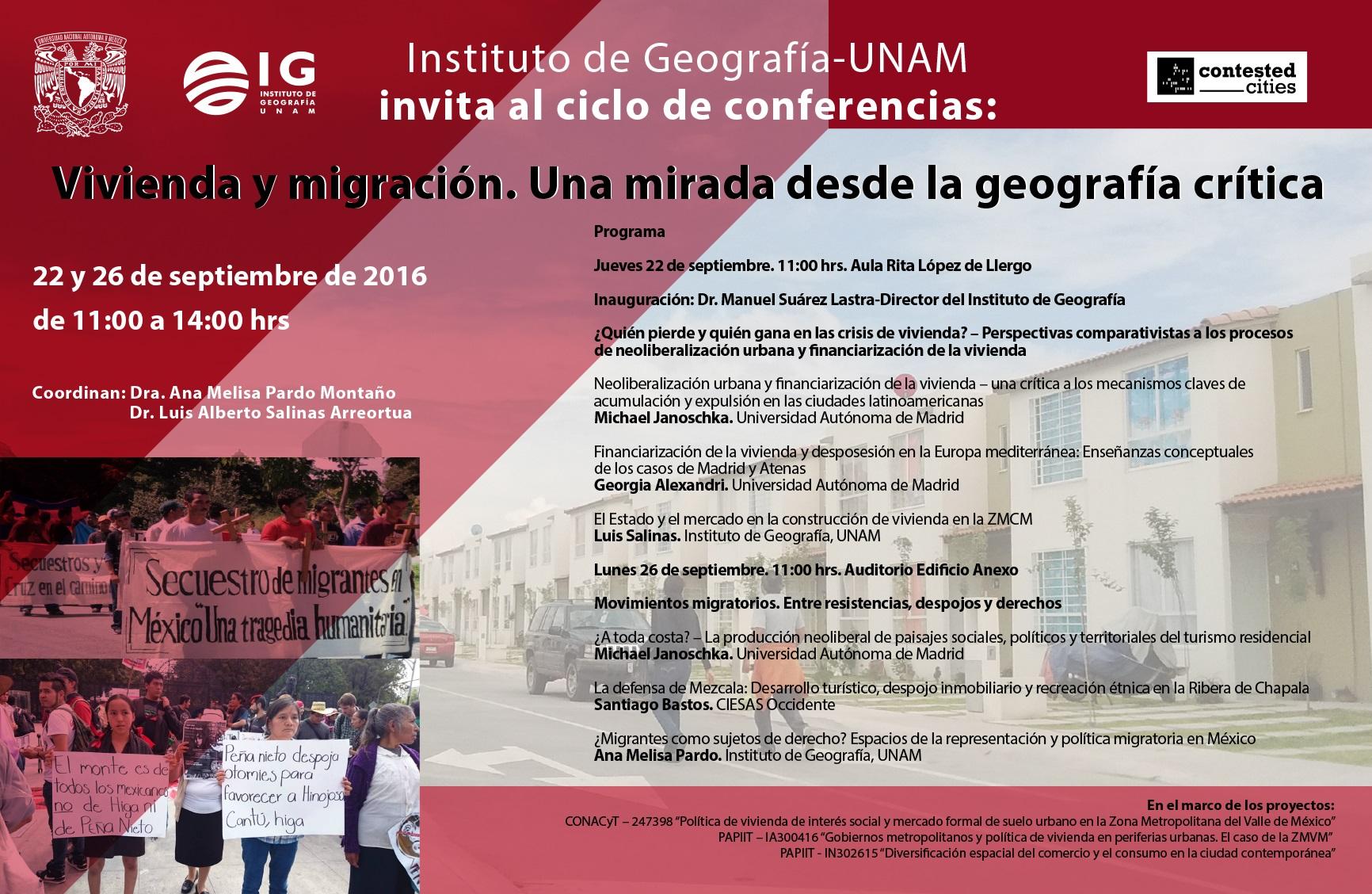 [CIUDAD DE MÉXICO] Ciclo de Conferencias Vivienda y migración